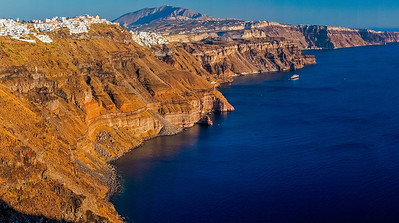 rugged shoreline Santorini