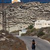 Rebecca walking down road in Oia