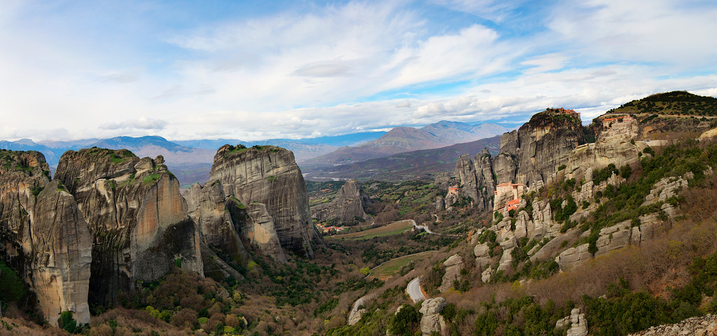 panorama meteora with monastaries
