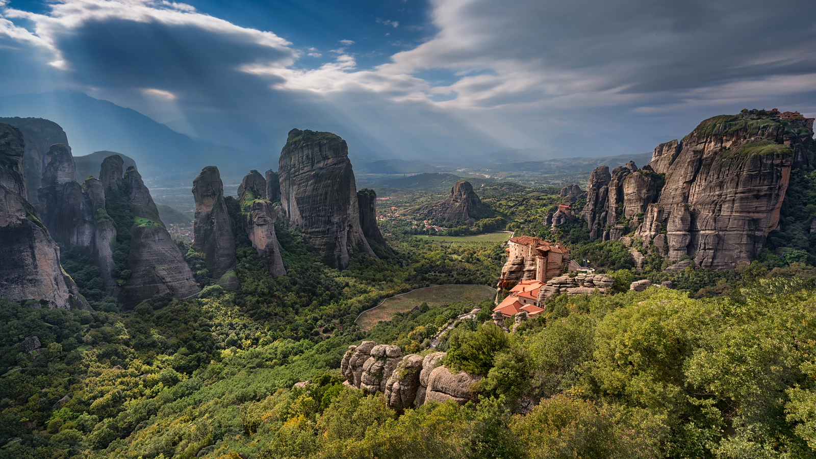 Sun Rays over The magnificent Meteora, Greece