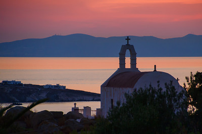 Sunset on Mykonos Island