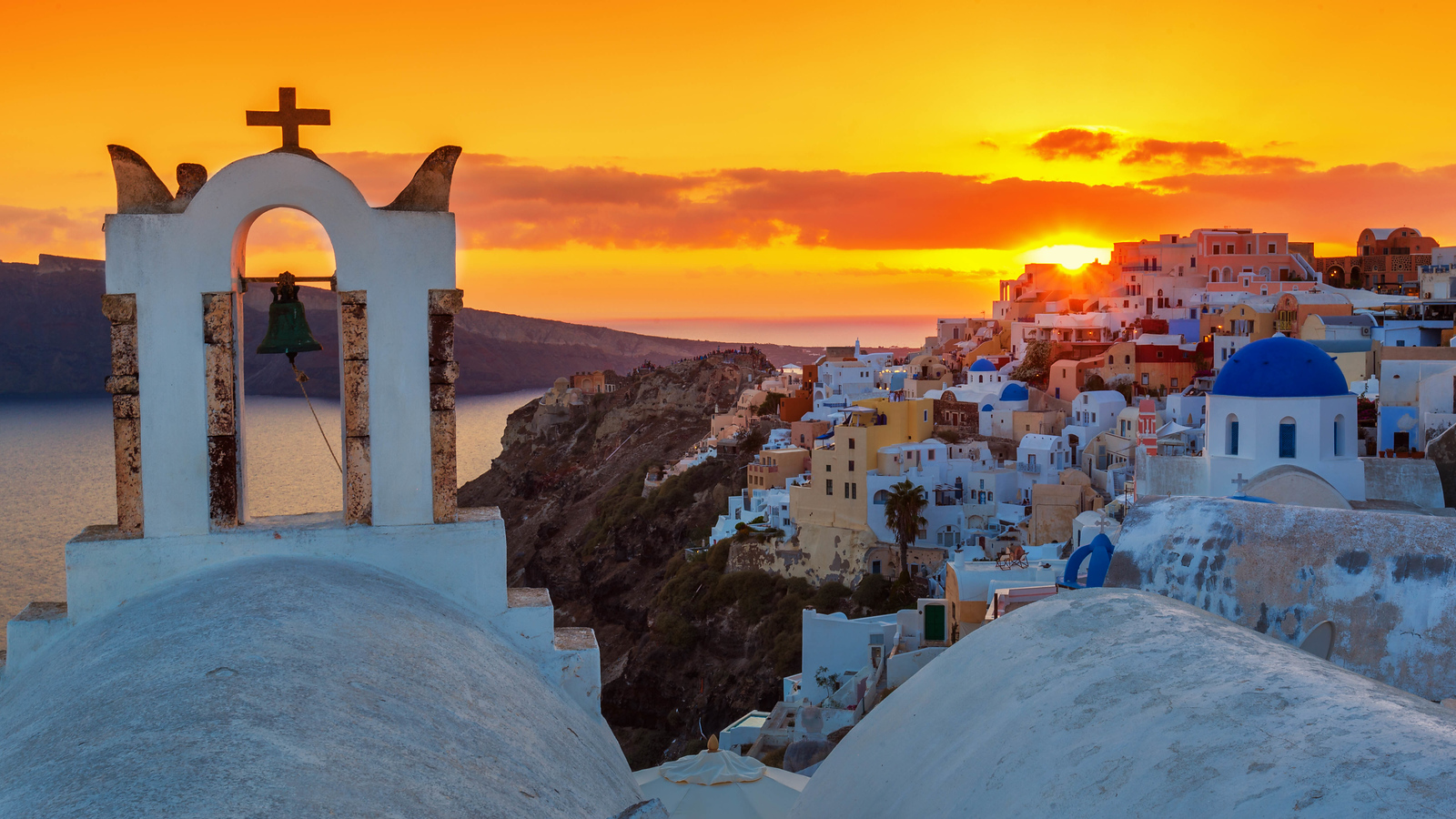 Sunset is magical from Oia in Santorini.