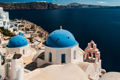 In Oia, looking toward Kira on Santorini Island, Greece