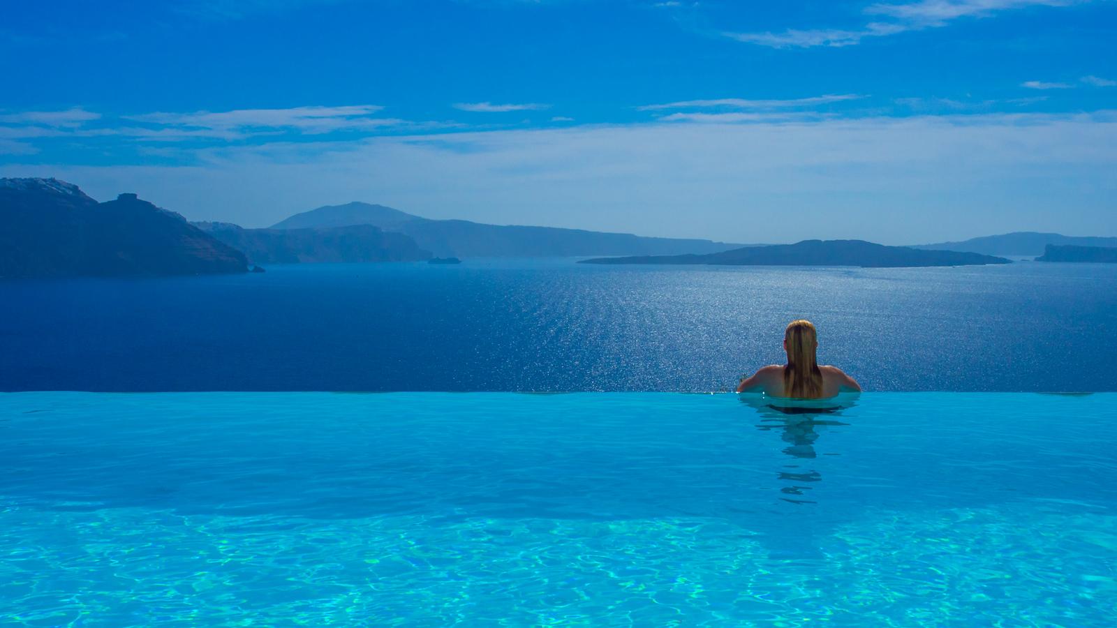 Enjoying the view in Santorini.