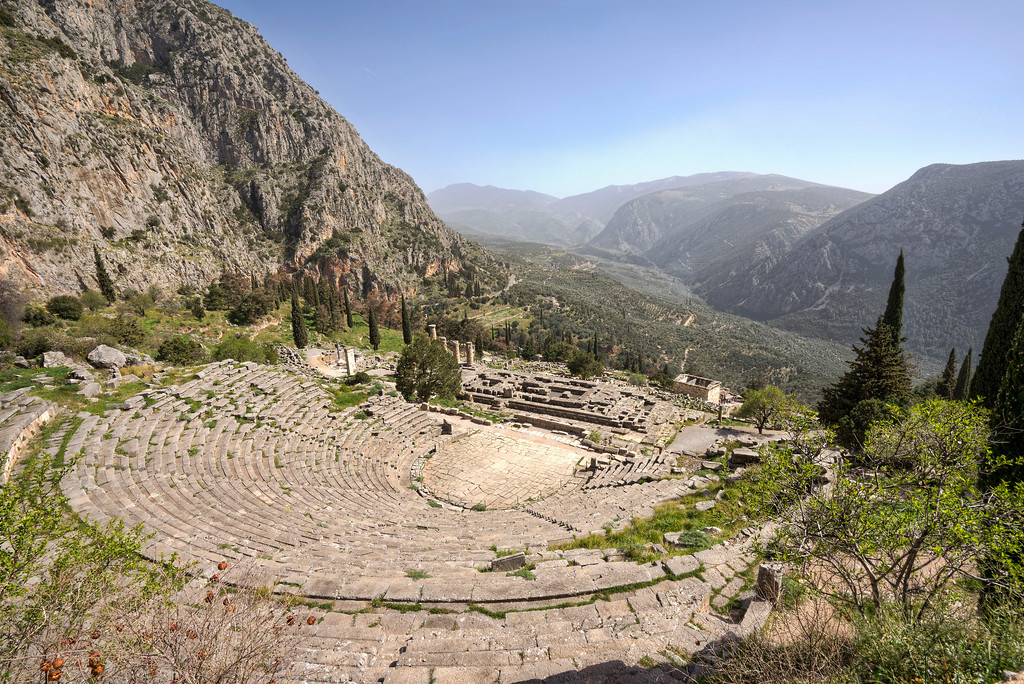 delphi theater greece blue sky