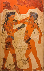 Boxing Children Akrotiri fresco Athens Museum