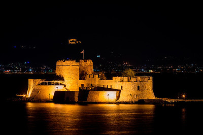 Bourtzi castle at night Nauplion