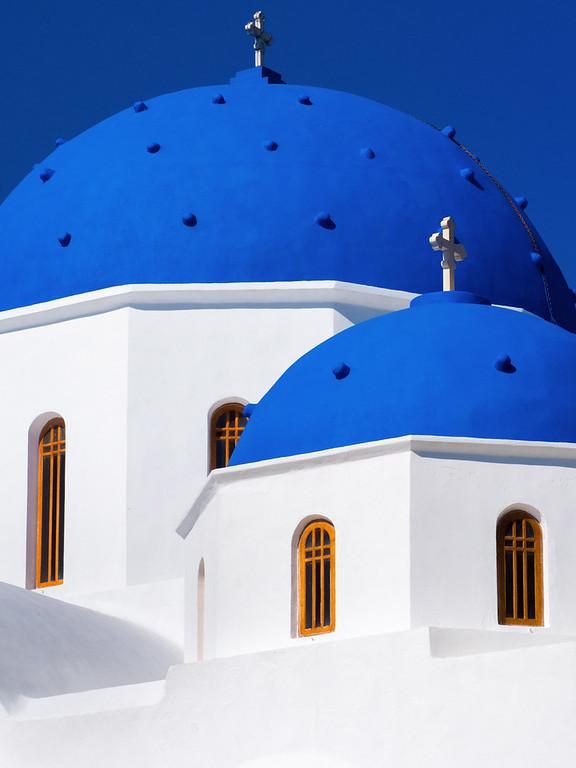 The famous Santorini Blue is everywhere.