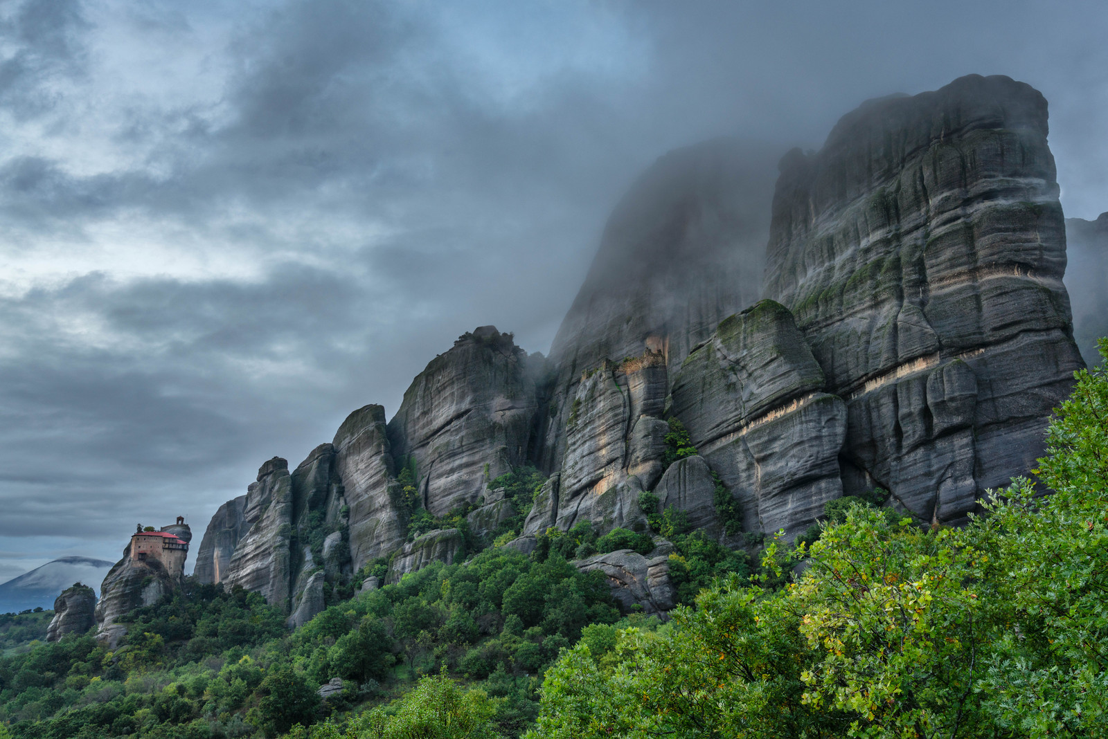 Meteora is filled with massive stone monoliths.