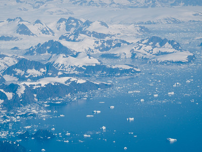 Flying over East Greenland