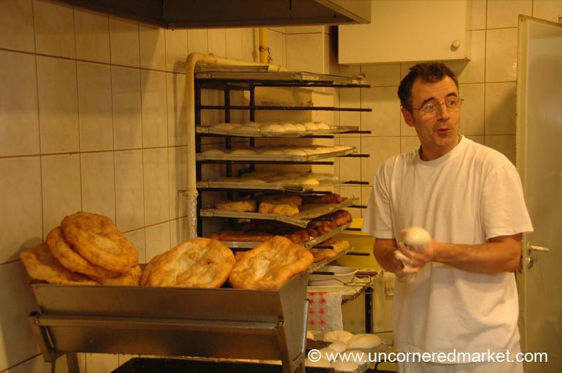 Langos Maker at Lehel Market - Budapest, Hungary