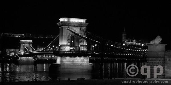 CHAIN BRIDGE AT NIGHT BLACK AND WHITE