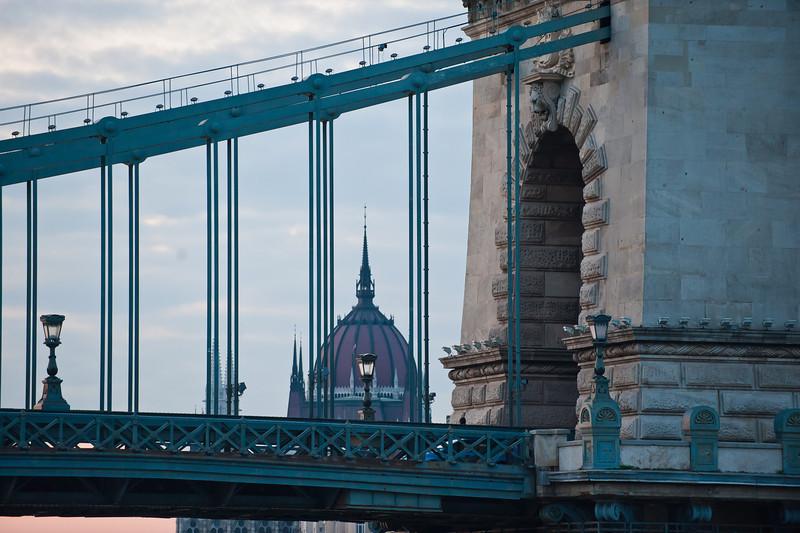 Parlament Dome Through Chain Bridge