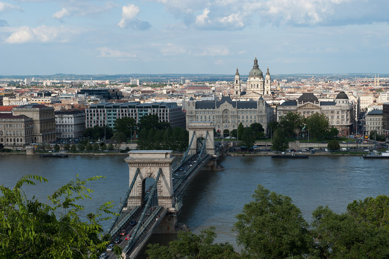 Chain Bridge and Pest from Royal Palace