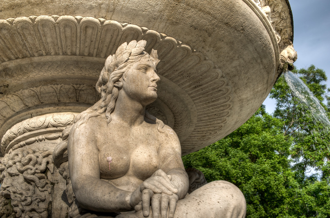 Statue from the Danubius Fountain in Budapest, Hungary
