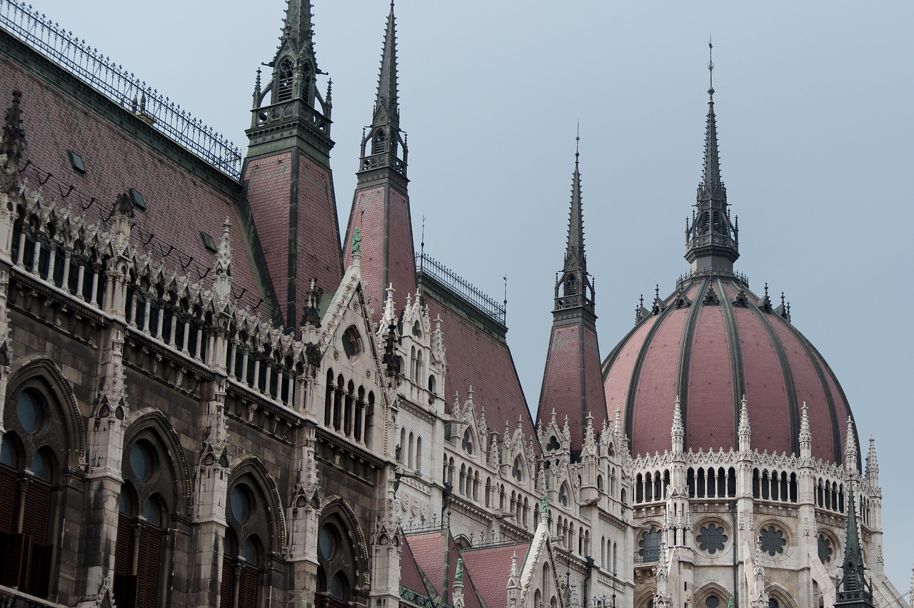 Architectural details of the Hungarian Parliament Building in Budapest