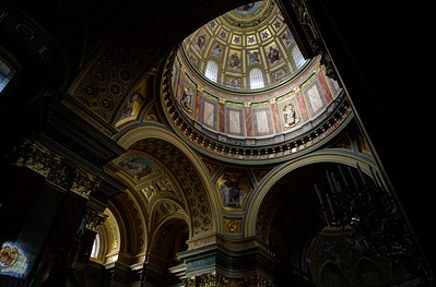 Details inside the St. Peter's Basilica in Budapest, Hungary