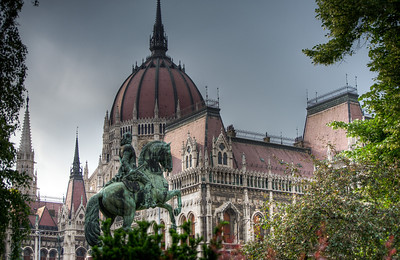 The red dome at the Hungarian Parliament Building in Budapest