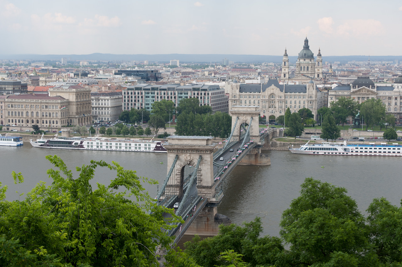 Overhead shot of the Chain Bridge in Budapest, Hungary
