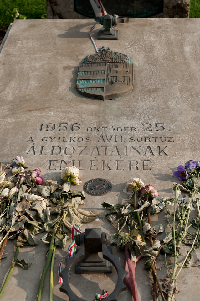 The grave site of Aldozatainak Emlekere in Budapest, Hungary