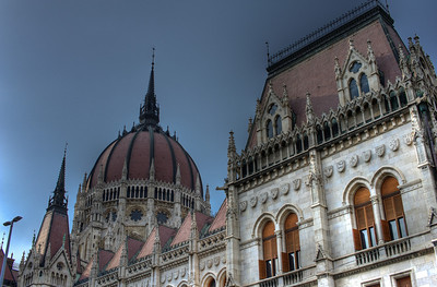 The architectural details of the Hungarian Parliament Building in Budapest