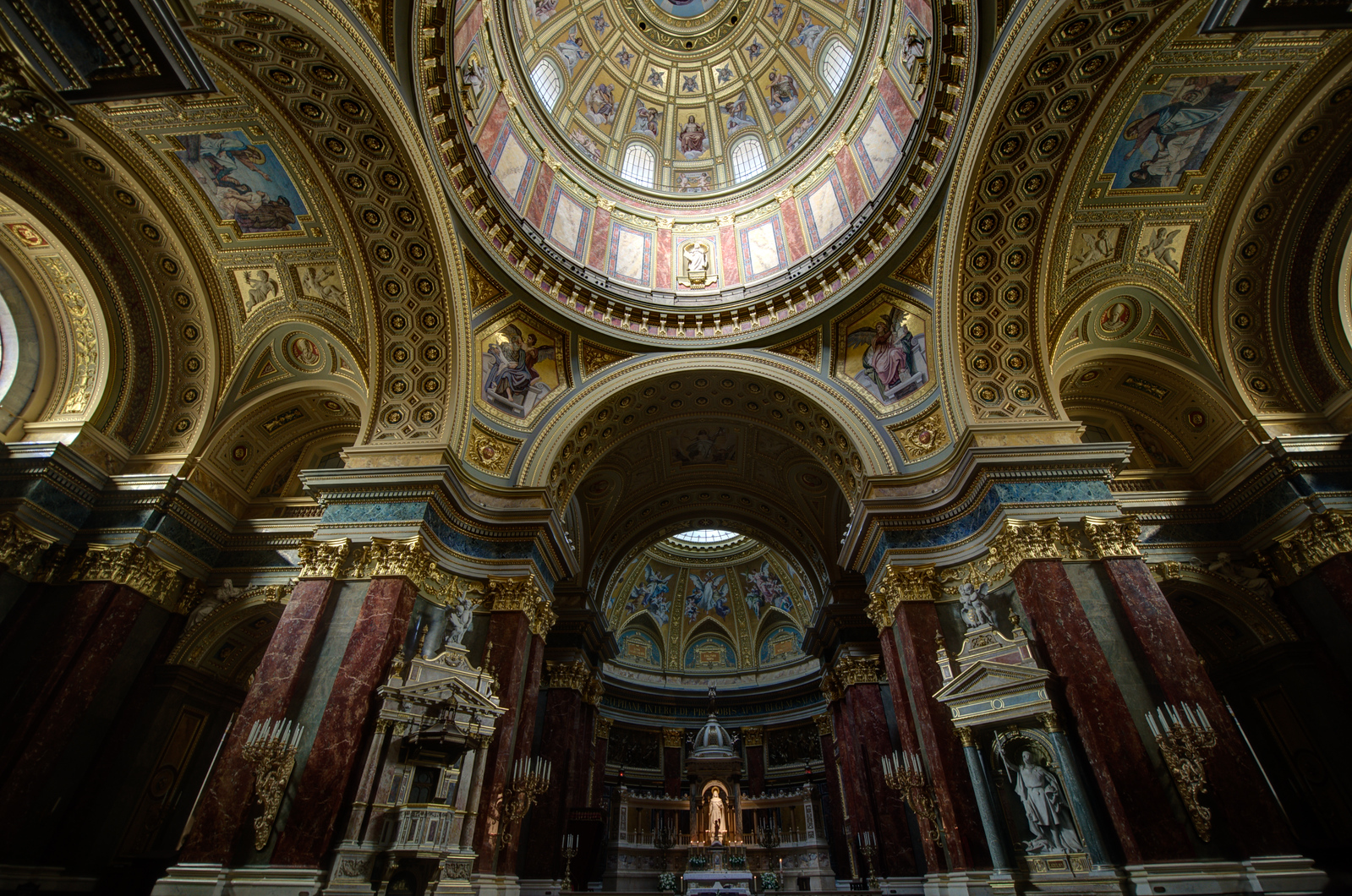 Interior details at St. Peter's Basilica in Budapest, Hungary