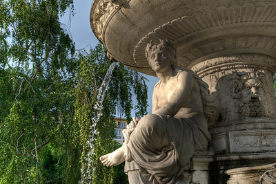 Close-up shot of fountain at Danubius Fountain in Budapest, Hungary