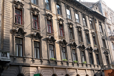 Row of windows from a building in Budapest, Hungary
