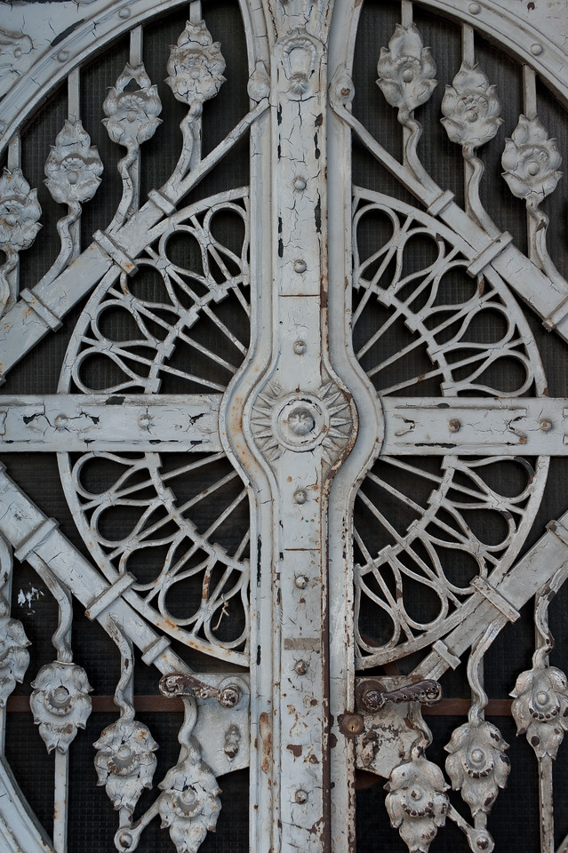 Steel carvings in a door at a building in Budapest, Hungary