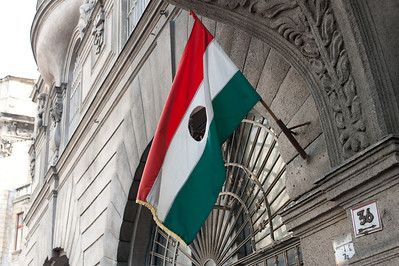 The Hungarian national flag waving outside the Parliament House