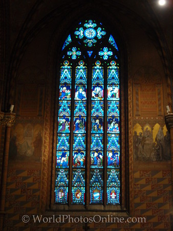 Budapest - Castle Hill - St Matthias Church - Wall Paintings & Stain Glass