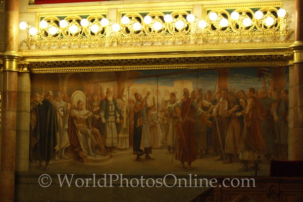 Budapest - Parliament Building - Old Upper House Hall - Birth of Hungery Painting