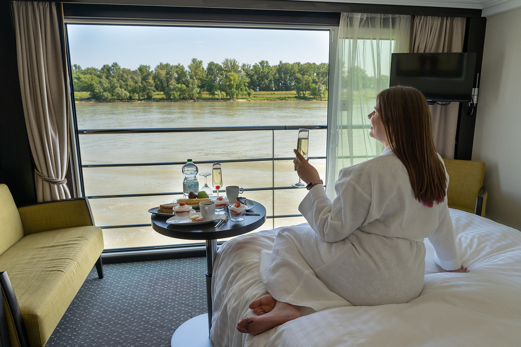 Amanda relaxing in an Avalon Waterways state room