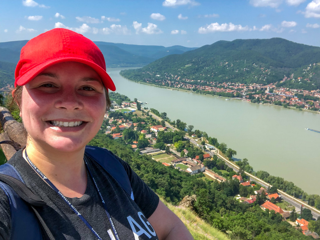 Amanda at a viewpoint over the Danube River