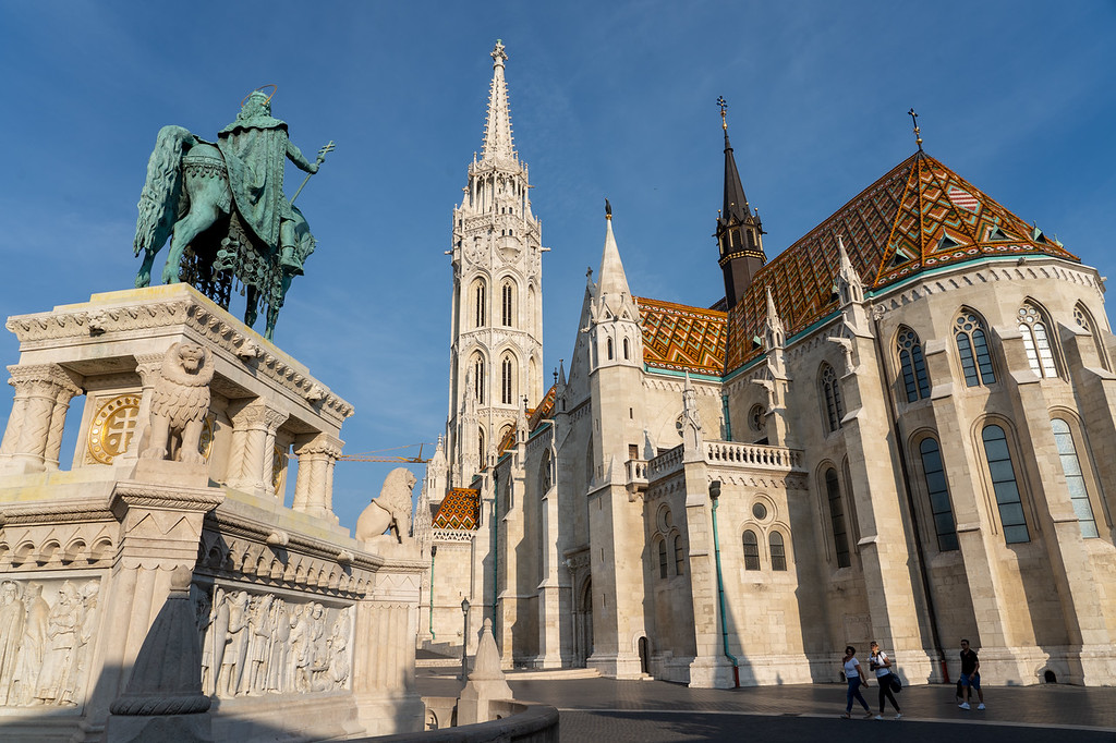 St. Stephen's Statue and Matthias Church in Budapest