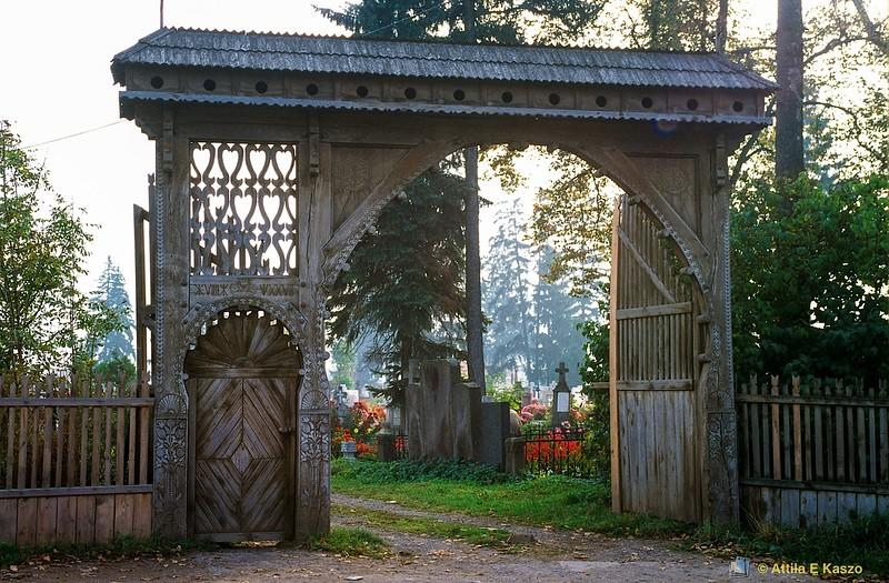 Wooden Cemetary Gate 19C<br /> Csiksomlyo, Transylvania (Erdely), Romania