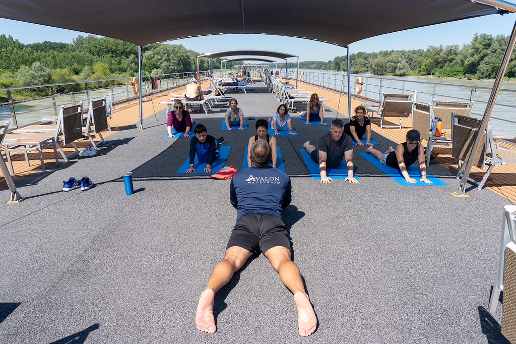 Yoga class on a river cruise ship
