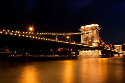 The festive Chain Bridge in awesome Budapest.