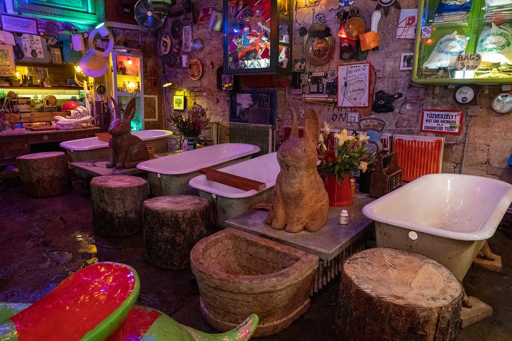 Inside Szimpla Kert ruin bar in Budapest