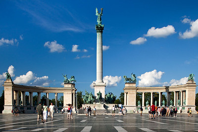 Hero's Square. A World Heritage site centered around the 120 foot statue of the Archangel Gabriel. Budapest Hungary