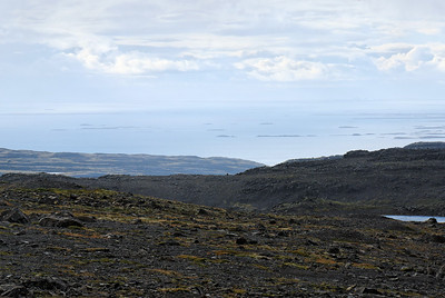 """West Fjords - View from Lonfell plateau. Viking Floki Vilgardason named the place """"Island"""", when he saw the bay covered with icebergs."""