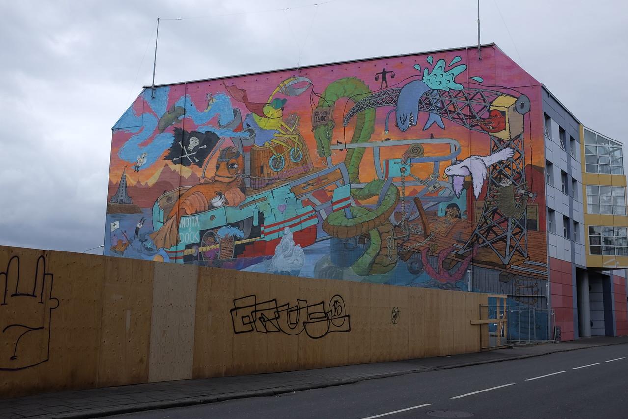Mural, public library, Reykjavik