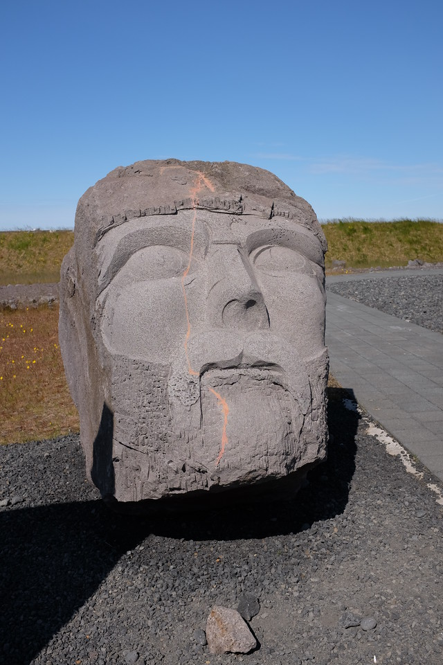 Giant stone head outside the Viking World Museum