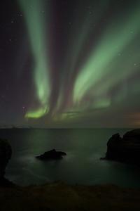 The beautiful aurora is often seen in Iceland
