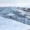 Panoramic view of Gullfoss (Golden Waterfall) consisting of two waterfalls (36' and 66')--note people on walkway on left!