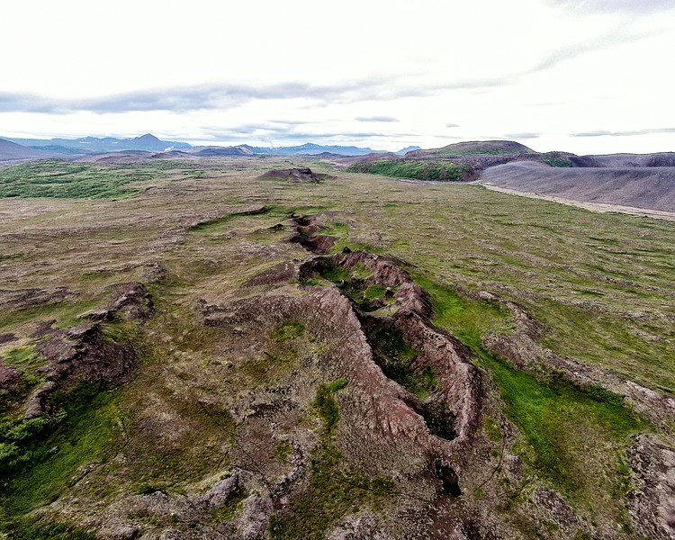 Old craters near Myvatn aerial view