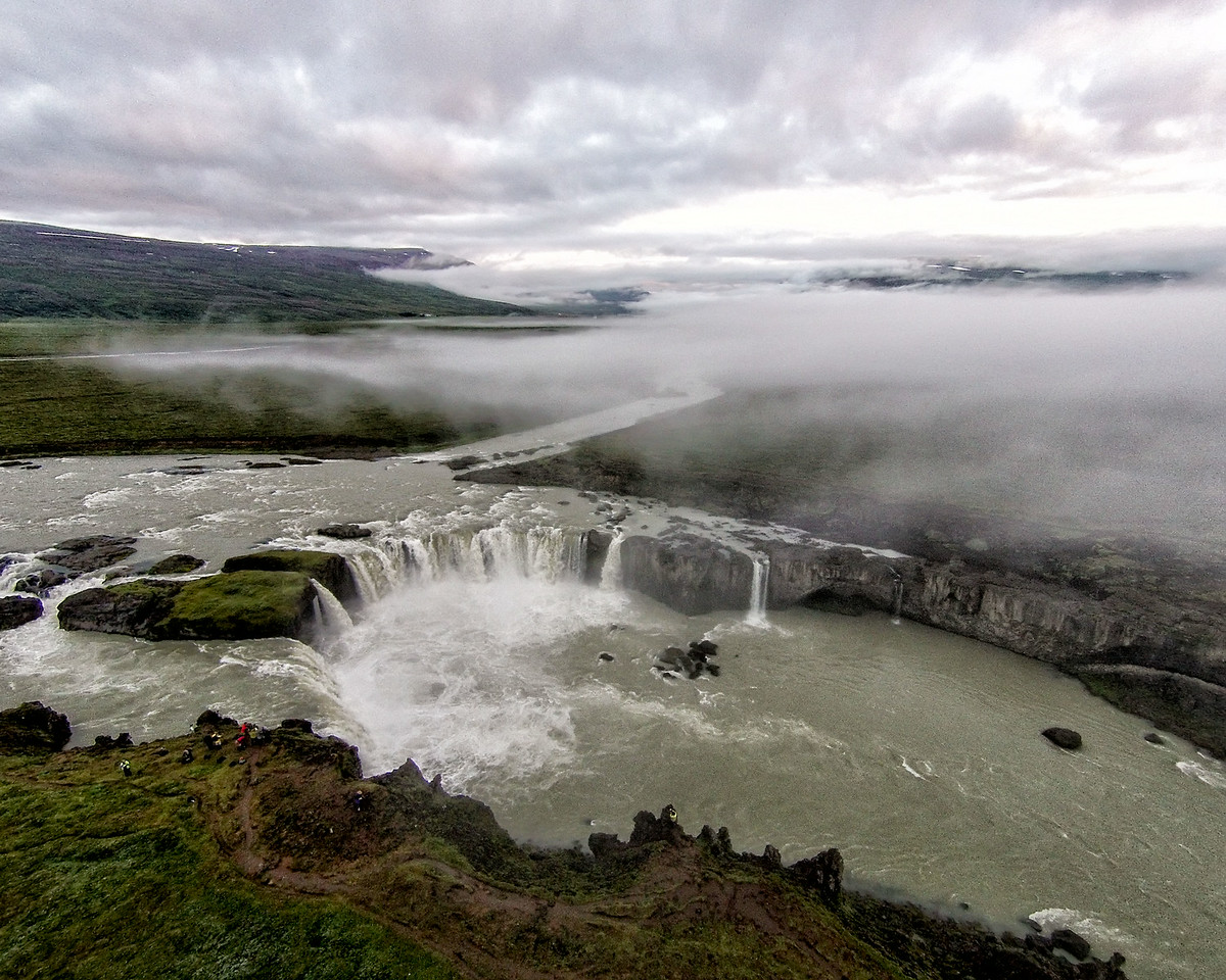 An aerial view of Godafoss at Sunrise
