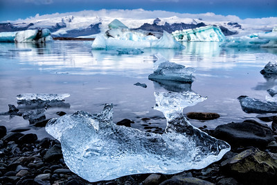An ice fish on the shore of Jokulsarlon at sunrise