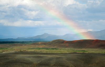 Hverfjall with rainbow