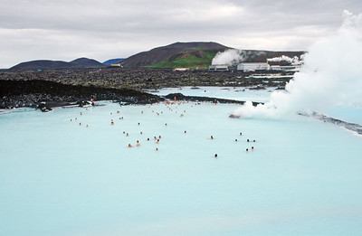 The Blue Lagoon.  In the background is the Svartsengi geothermal power plant